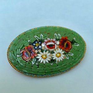 Mini mosaic flower vintage brooch pin